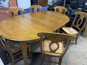 Large light wood dining kitchen table with six chairs for Sale in Baden, PA