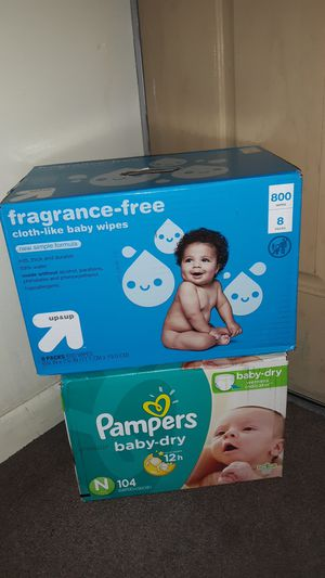 Diapers Pampers Baby Dry size New Born (104 count) and baby Wipes (800 count) other sizes available PAÑALES otros tamaños disponible for Sale in Phoenix, AZ