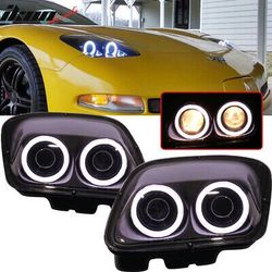 97-04 Chevy Corvette C5 Headlights Projector Lamp Black Dual LED Halo Rims for Sale in Whittier,  CA