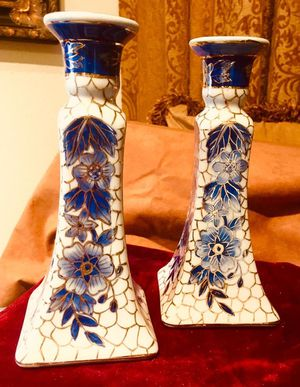 Fine China porcelain candle holders - set 2 pcs; H8.5xW5.5 inch for Sale in Sun Lakes, AZ