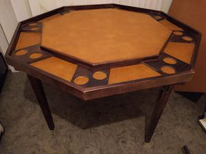 Poker table.. wood. Legs fold for easy storage or transport. Octagon 4 feet diameter for Sale in Ontario, CA