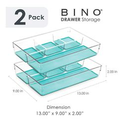 BINO Multi-Purpose 4 Section Plastic Organizer - 2 Pack, Aqua Blue for Sale in Phoenix,  AZ