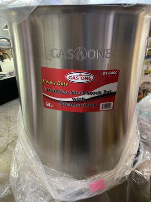 Gas one heavy duty stainless steel stock pot with steamer rack 64 qt‼️‼️‼️‼️‼️‼️‼️ for Sale in Las Vegas, NV