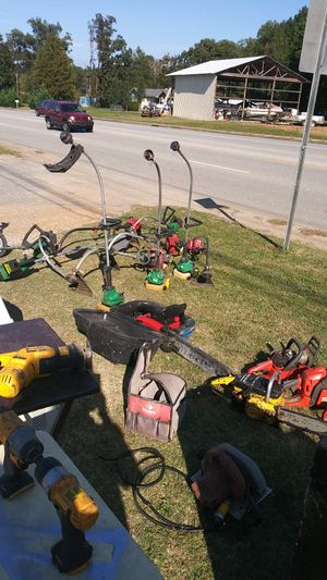10 weed eaters, 7 chainsaws, 2 dewalt drills, cargo container, 4 electric scooters for Sale in Hixson, TN