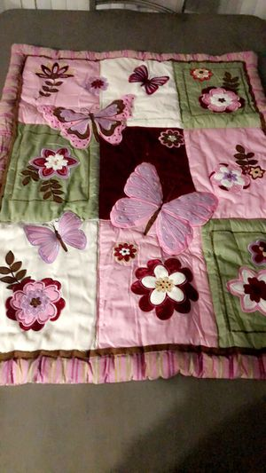 Emily 9 piece crib bedding set butterfly Garden $55 price not negotiable for Sale in Hammond, IN