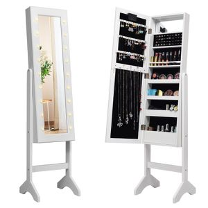 Mirrored Jewelry Cabinet Organizer 18 LED lights White for Sale in South El Monte, CA