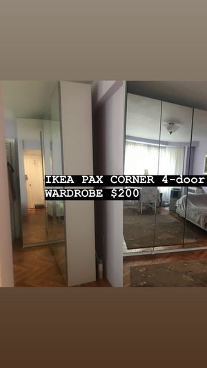 IKEA PAX CORNER 4 mirror door WARDROBE for Sale in Brooklyn, NY