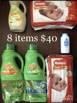 2 Huggies Diapers, 5 Gain: 2 Liquid Laundry Detergents, 2 Pods, 1 Fabric Softener; 1 Johnson Baby Powder: 8 Items $40 for Sale in Monterey Park, CA