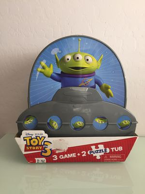 Toy story 3 Aliens storage tub with 3 games and 2 puzzles for Sale in Avondale, AZ