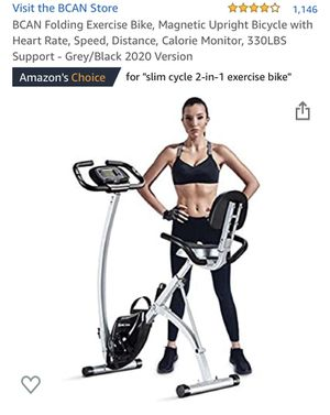 Brand new BCAN Folding Exercise Bike, Magnetic Upright Bicycle with Heart Rate, Speed, Distance, Calorie Monitor, 330LBS Support - Grey/Black 2020 Ve for Sale in Bolingbrook, IL