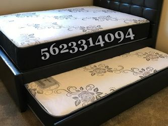 Full/twin Expresso Trundle bed W. Orthopedic Mattresses included for Sale in Fresno,  CA