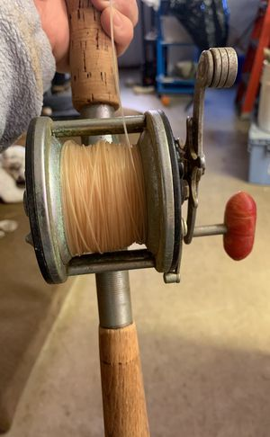 Penn 60 Long Beach Fishing Reel with Vintage pole Wooden Handle for Sale in Westminster, MD