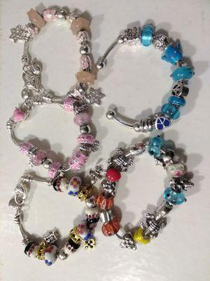 5 Beautiful Charm Bracelets Pandora Peace Stars Elephants Frogs Locks Love for Sale in Rohnert Park, CA