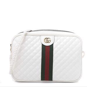 Laminated Calfskin Quilted Web Small Shoulder Bag White for Sale in Jonesboro, GA