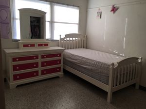 Solid wood Dresser with mirror, bed and orthopedic mattresses for Sale in Avon Park, FL