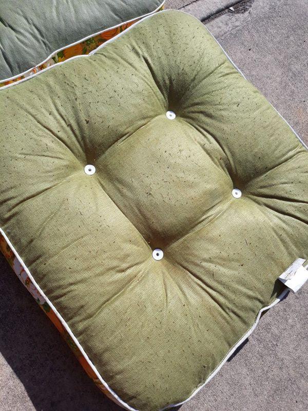 Pair vintage flower power retro vinyl patio cushions