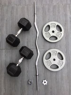 Weights 50lb Dumbbells CurlBar 2x25lb Plates for Sale in Riverside, CA