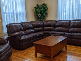 Wide Genuine Leather Manual Reclining Sectional with sleeping sofa and lazy boy chair. for Sale in Chelmsford,  MA