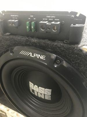 (2) Two Alpine 1000watt Bassline 12s in slot ported box and Alpine D Class M500 amplifier for Sale in Washington, DC