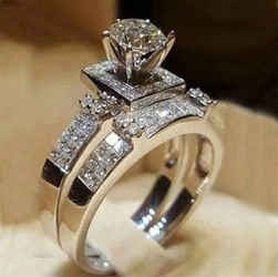 Women Luxury Crystal White Sapphire Perfectly Cut Engagement Wedding Jewelry Silver Ring Set for Sale in Garland,  TX