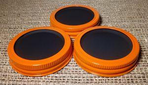 Chalkboard 3 Mason Jar Regular Mouth Lid/Ring Orange Powder Coat Finish for Sale in Montezuma, OH