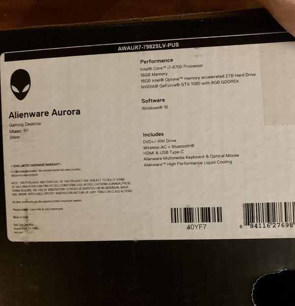 Alienware Aurora R7 8th Gen I7 NVIDIA GTX 1080