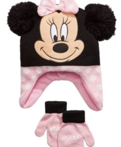 Minnie Mouse Big Girls 2-Pc. Heidi Hat & Mittens Set - Pink Size: ONE SIZEColor: Pink for Sale in Clifton,  NJ