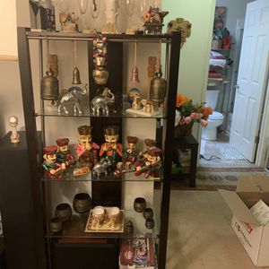 5-Shelf Glass Curio Display Cabinet Tower Black And Clear for Sale in Santa Clara, CA
