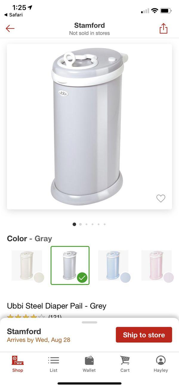 Ubbi Steel Diaper Pail in Grey