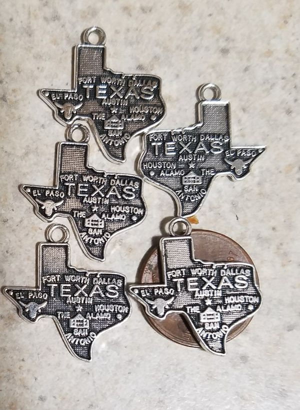 New Texas State Map and Towns Pendants Charms