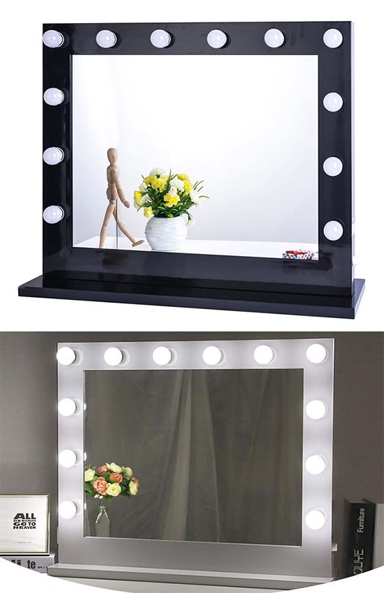 (NEW) $200 X-Large Vanity Mirror w/ 12 Dimmable LED Light Bulbs, Hollywood Beauty Makeup Power Outlet 32x26""
