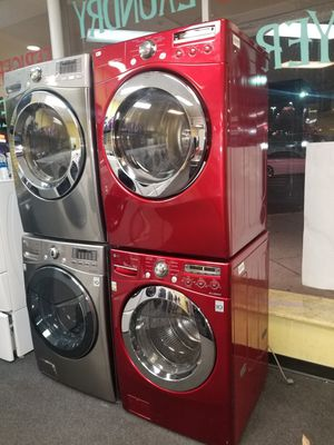 LG red electric front load set washer and dryer like new in great condition for Sale in Baltimore, MD