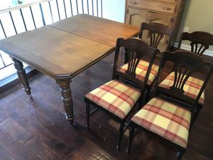Fine Antique table 50x40 nicely refinished with 4 sturdy small chairs for Sale in Atlanta, GA