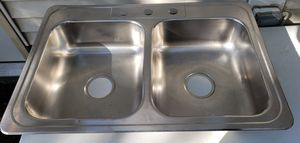 "Stainless Steel Double Bowl Kitchen Sink 33"" 3-hole 6"" deep for Sale in Joliet, IL"