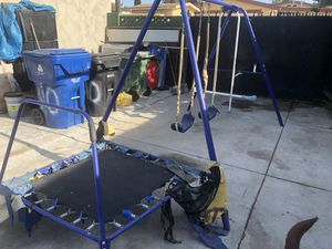 Kids metal play swing set and jumper for Sale in Los Angeles, CA