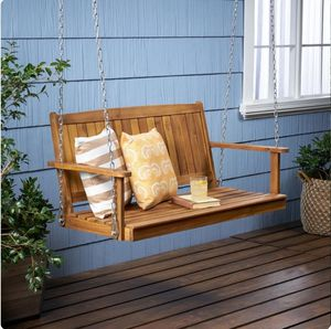 Teak Color Wood Porch Swing Lounge Chair for Sale in Corona, CA