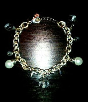 925 Silver Plated Pearl Crystal Charm Bracelet for Sale in Boca Raton, FL