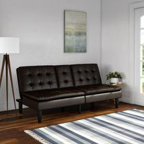 Mainstays Memory Foam Faux Leather PillowTop Futon with Cupholder, Dark Brown Faux Leathe. Factory sealed in box for Sale in Los Angeles, CA