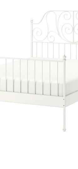 Queen Sized White Metal Bed Frame for Sale in Whittier,  CA