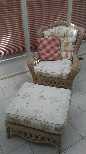 Wicker Chair and matching Ottoman for Sale in Potomac Falls, VA