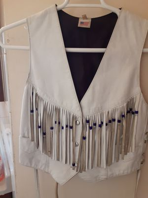 Womens Sze Med White leather fringe vest for Sale in South Holland, IL