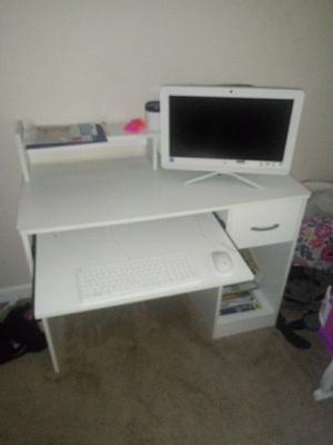 All white computer desk with shelf&keyboard stand still white as u for Sale in Conley, GA
