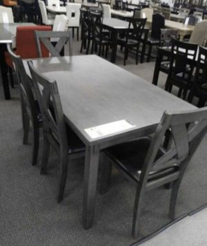 6pcs wooden dining table set grey finish for Sale in Lakewood, CA