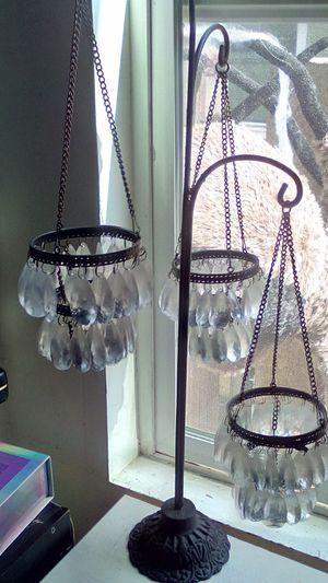Beautiful Vintage Glass Chandelier Tealight Candle Holder for Sale in Long Beach, CA