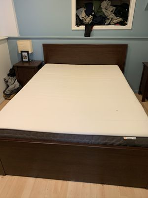 Barely used! IKEA full size frame and mattress with under bed storage drawers for Sale in Plainview, NY