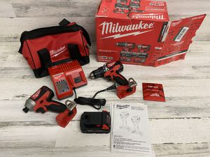 Milwaukee M18 18 Volt Brushless Cordless Compact Drill/Impact Kit 2Ah battery Tool Bag Included for Sale in Mesa, AZ