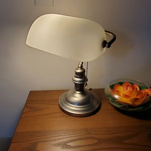 Vintage Bankers Desk Lamp W/ Frost Glass Shade Student Antique Piano Table Light for Sale in Miami, FL