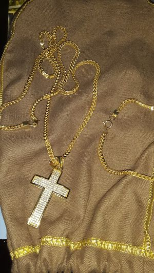 Gold frankco chain with charm and bracelet... for Sale in Tampa, FL