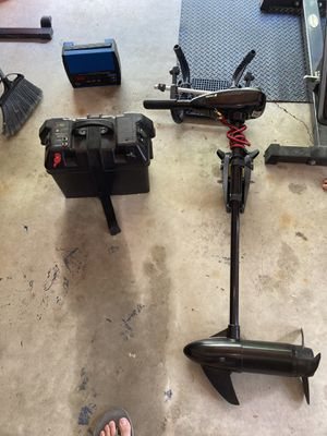 Trolling motor, battery and battery box, battery charger, and (intex boat mount this has been sold) for Sale in Galena, OH