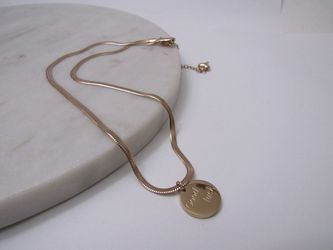 Gold Plated Round Good Luck Letter Necklace Box Chain For Women for Sale in Los Angeles,  CA